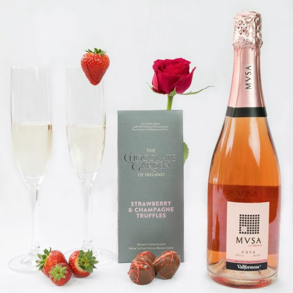 Erins Cava And Chocolate Box with Strawberry and Champagne Truffles.